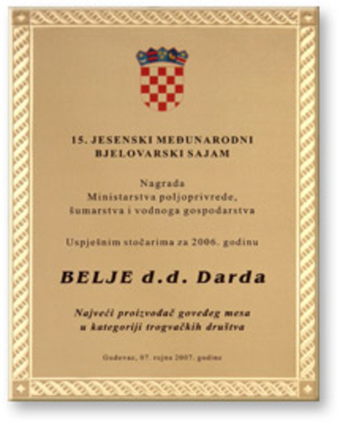 Belje receives the Successful Farmer Award