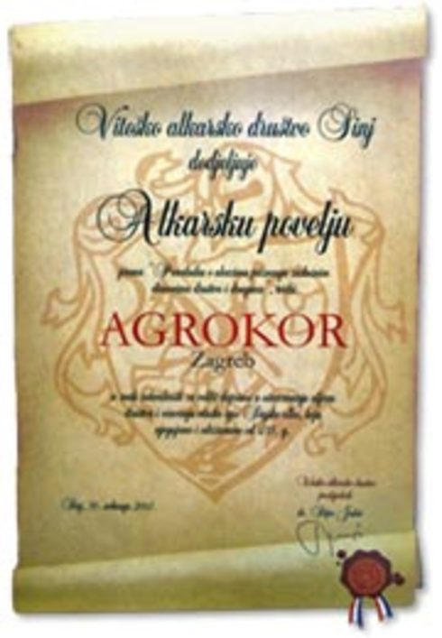 First Charter of Alkar Knights Association Presented to President of Agrokor Group